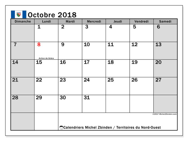 Calendrier octobre 2018, avec les jours fériés des Territoires du Nord-Ouest. Planificateur à imprimer gratuit.