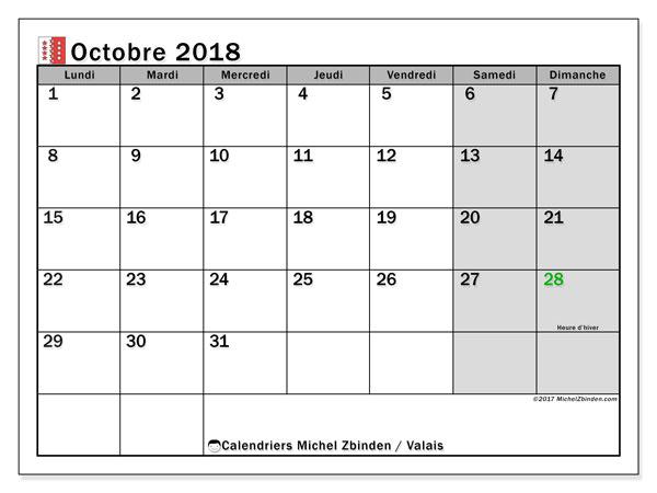 Calendrier octobre 2018, avec les jours fériés du Canton du Valais. Calendrier imprimable gratuit.
