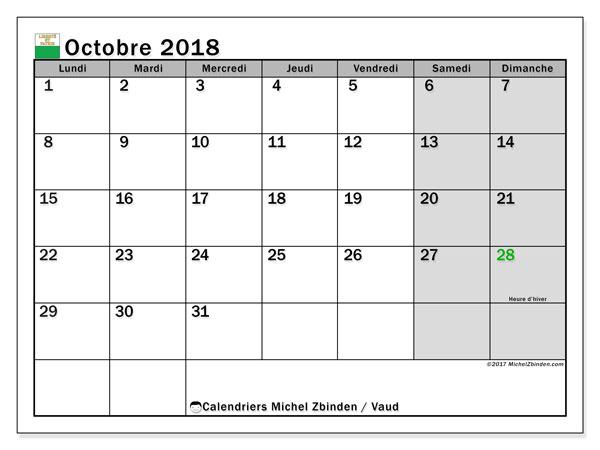 Calendrier octobre 2018, avec les jours fériés du Canton de Vaud. Calendrier à imprimer gratuit.