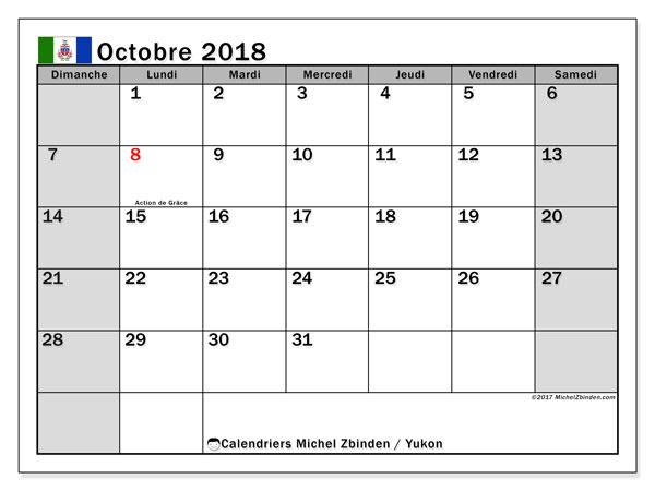 Calendrier octobre 2018, avec les jours fériés du Yukon. Calendrier pour le mois à imprimer gratuit.