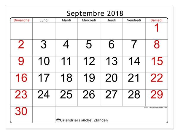"""Calendrier De Septembre 2018 à Septembre 2021 Calendrier """"62DS"""" septembre 2018 à imprimer   Michel Zbinden FR"""
