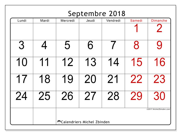 calendrier a imprimer septembre 2018 a septembre 2018