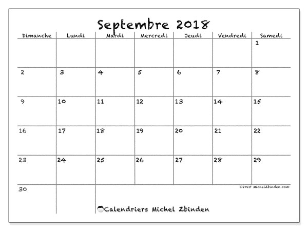 "Calendrier Septembre 2018 à Septembre 2021 à Imprimer Calendrier ""77DS"" septembre 2018 à imprimer   Michel Zbinden FR"