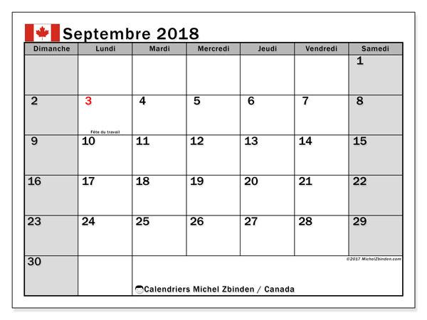 Calendrier septembre 2018, avec les jours fériés du Canada. Organisateur à imprimer gratuit.