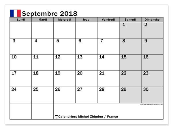 Calendrier à imprimer gratuit septembre 2018, avec les jours fériés de la France
