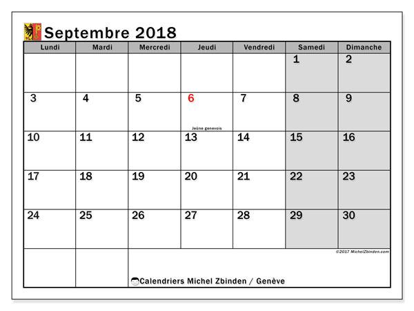 Calendrier septembre 2018, avec les jours fériés du Canton de Genève. Calendrier à imprimer gratuit.