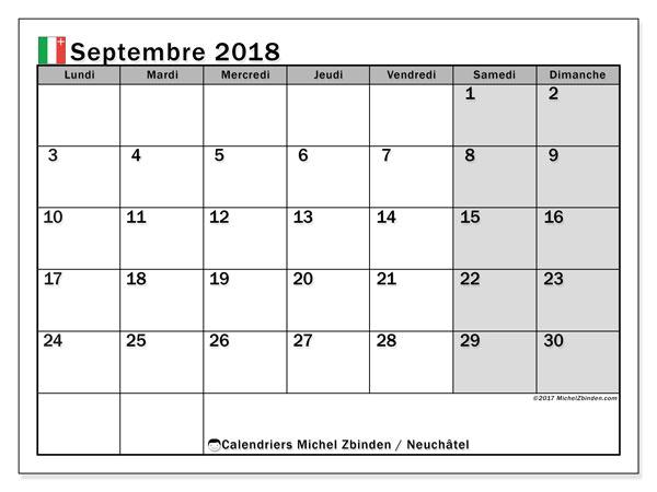 Calendrier septembre 2018, avec les jours fériés du Canton de Neuchâtel. Calendrier pour le mois à imprimer gratuit.