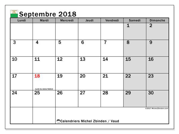 Calendrier septembre 2018, avec les jours fériés du Canton de Vaud. Organisateur à imprimer gratuit.