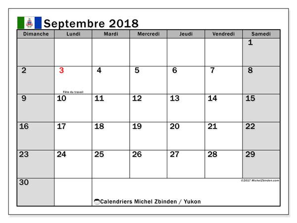 Calendrier septembre 2018, avec les jours fériés du Yukon. Calendrier à imprimer gratuit.