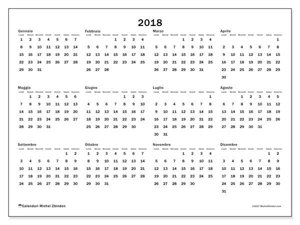 Calendario 2018 (32LD). Calendario da stampare gratis.