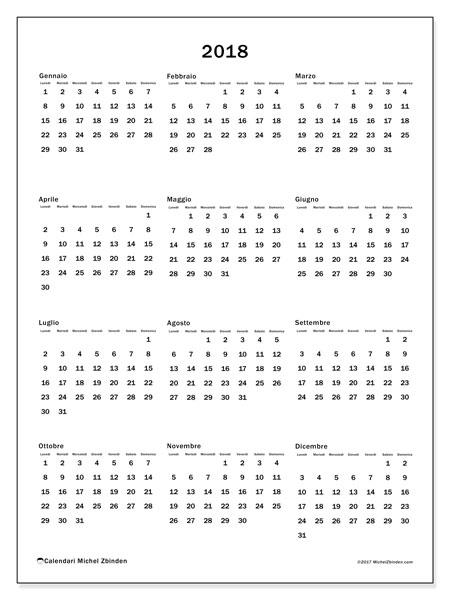 Calendario 2018 (33LD). Calendario da stampare gratis.