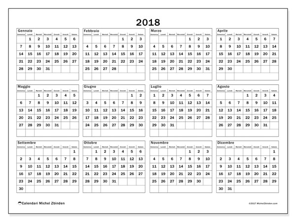 Calendario 2018 (34DS). Calendario annuale da stampare gratuitamente.