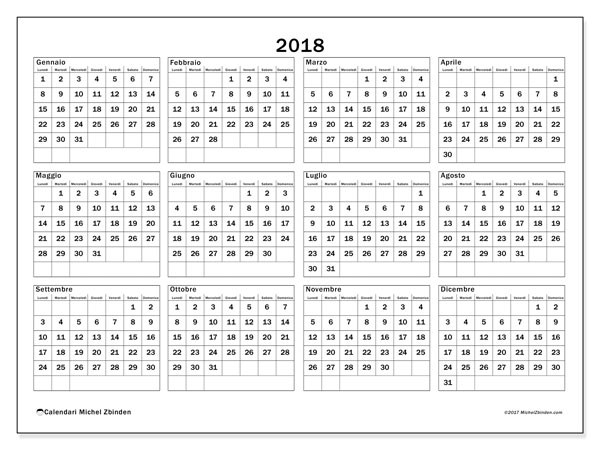 Calendario Anno 2018 Da Stampare.Calendario 2018 34ld Michel Zbinden It