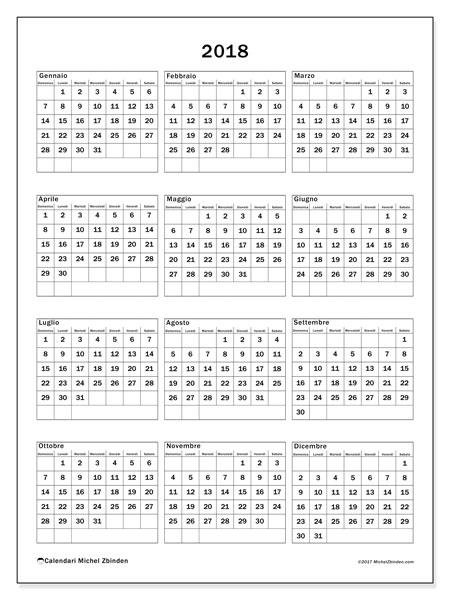 Calendario 2018 (36DS). Calendario da stampare gratis.