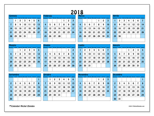 Calendario Anno 2018 Da Stampare.Calendario 2018 39ds Michel Zbinden It