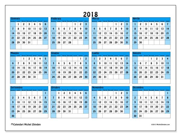 Calendario 2018 (39DS). Calendario per l'anno da stampare gratuitamente.