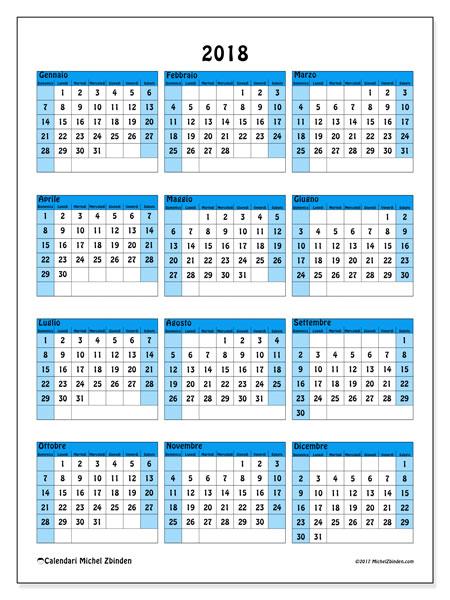 Calendario 2018 (40DS). Calendario annuale da stampare gratuitamente.