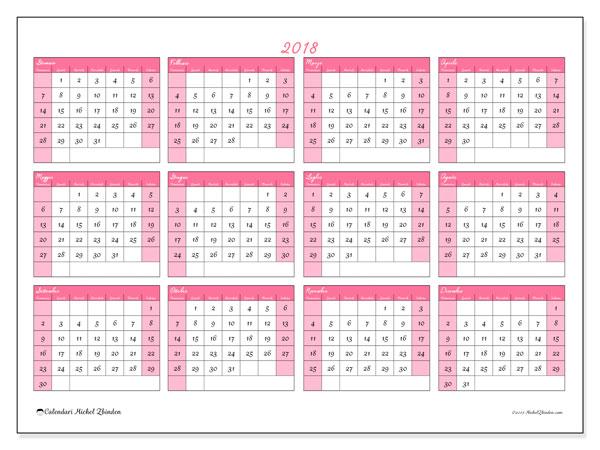 Calendario 2018 (41DS). Calendario per la stampa gratis.