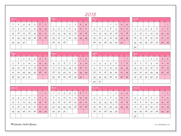 Calendario 2018 (41LD). Calendario per l'anno da stampare gratuitamente.