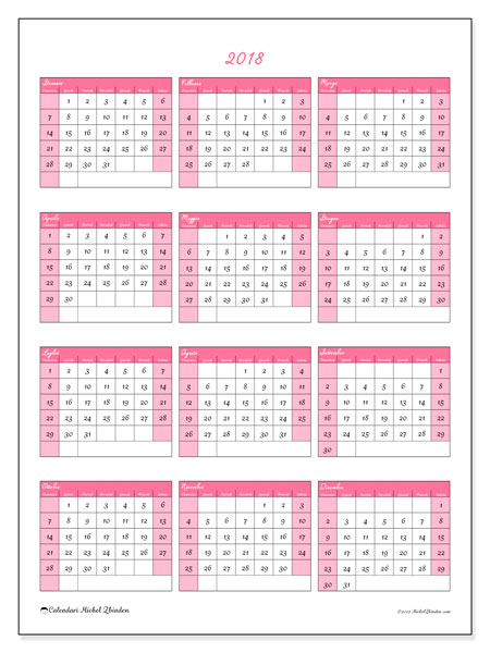 Calendario 2018 (42DS). Calendario gratuito da stampare.