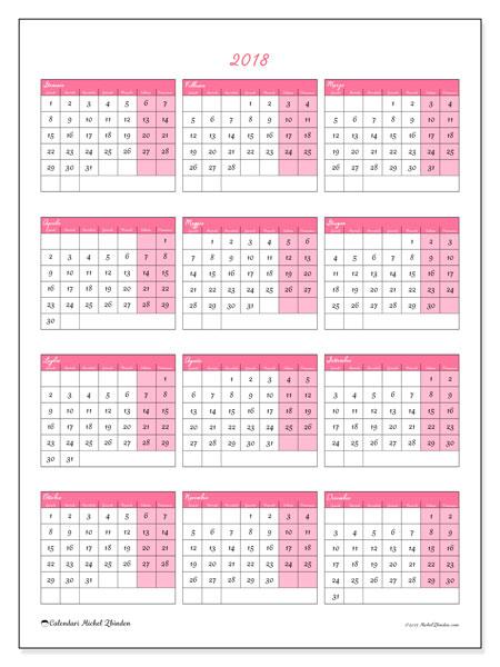 Calendario 2018 (42LD). Calendario annuale da stampare gratuitamente.