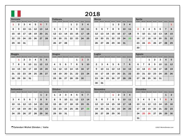 Calendari 2018, con giorni festivi in Italia. Calendario stampabile gratuito.