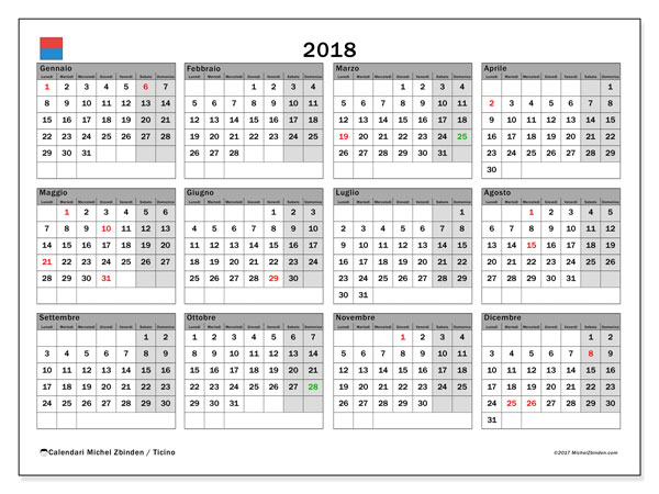 Calendario Anno 2018 Da Stampare.Calendario 2018 Ticino Michel Zbinden It