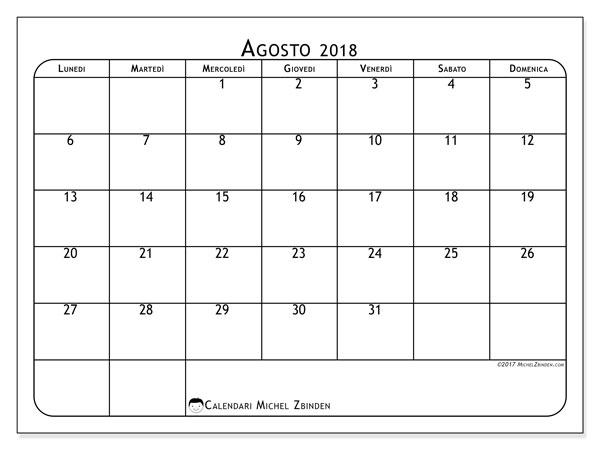 Calendario  agosto 2018, 51LD