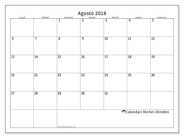 Calendario  agosto 2018, 53LD
