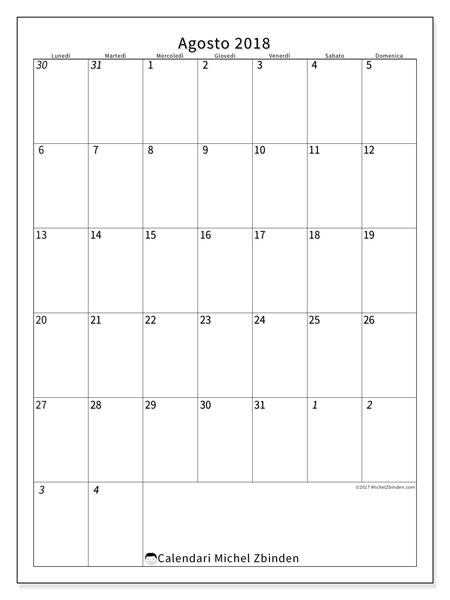 Calendario  agosto 2018, 68LD