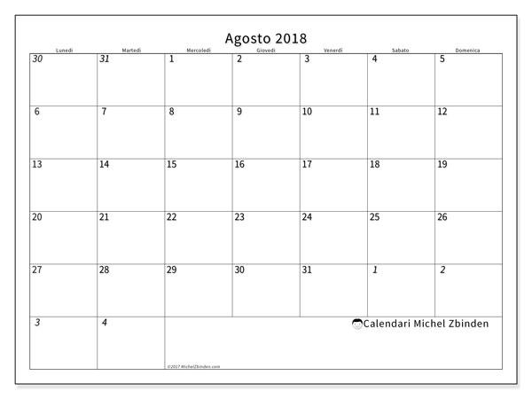 Calendario  agosto 2018, 70LD