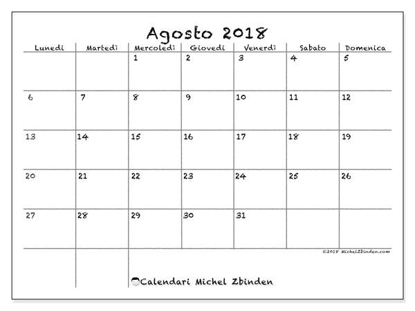 Calendario  agosto 2018, 77LD