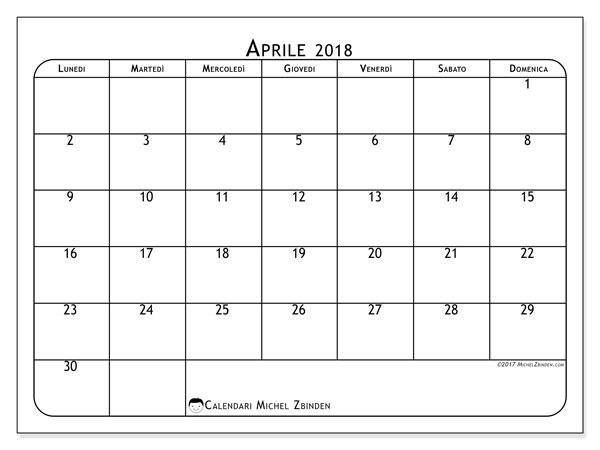 Calendario aprile 2018 (51LD). Calendario stampabile gratuito.