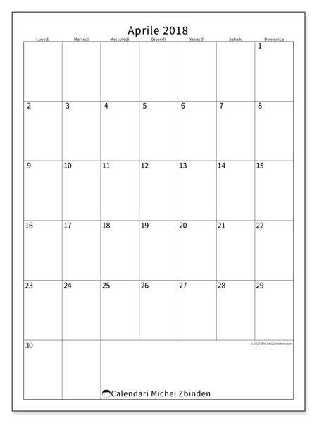 Calendario aprile 2018 (52LD). Calendario per la stampa gratis.