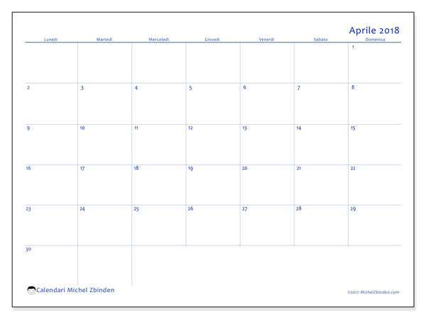 Calendario aprile 2018 (55LD). Calendario da stampare gratis.