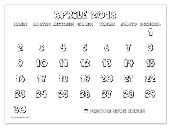 Calendario aprile 2018 (56LD). Orario da stampare gratis.