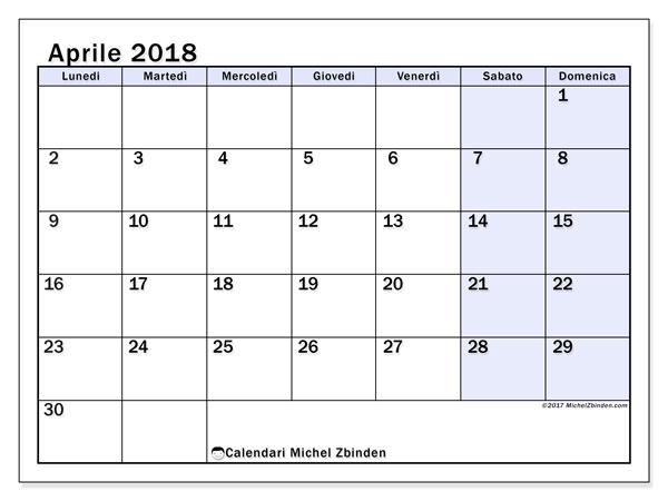 Calendario aprile 2018 (57LD). Calendario per la stampa gratis.