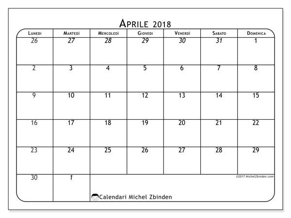 Calendario aprile 2018 (67LD). Calendario gratuito da stampare.