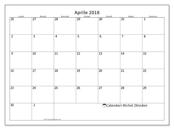 Calendario  aprile 2018, 70LD