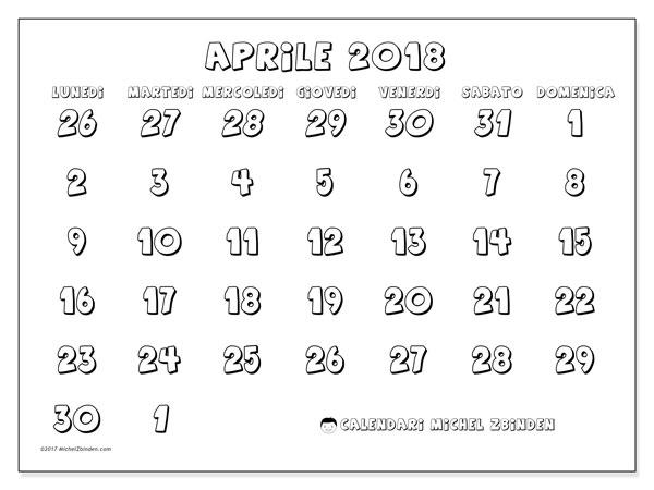 Calendario aprile 2018 (71LD). Calendario stampabile gratuito.