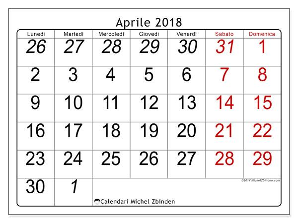 Calendario aprile 2018 (72LD). Calendario gratuito da stampare.