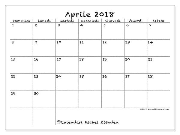 Calendario Di Aprile.Calendario Aprile 2018 77ds Michel Zbinden It