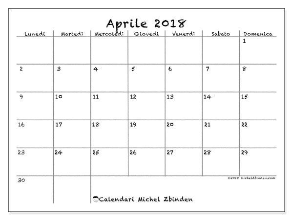 Calendario aprile 2018 (77LD). Orario da stampare gratis.