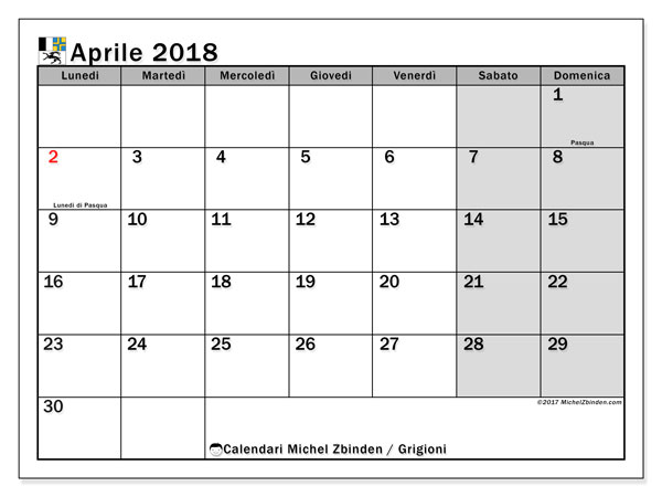 Calendari aprile 2018, con giorini festivi del Cantone dei Grigioni. Calendario per la stampa gratis.