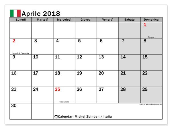 Calendari aprile 2018, con giorni festivi in Italia. Calendario da stampare gratis.