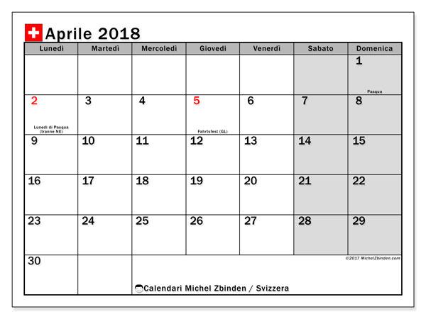 Calendari aprile 2018, con giorini festivi della Svizzera. Calendario gratuito da stampare.
