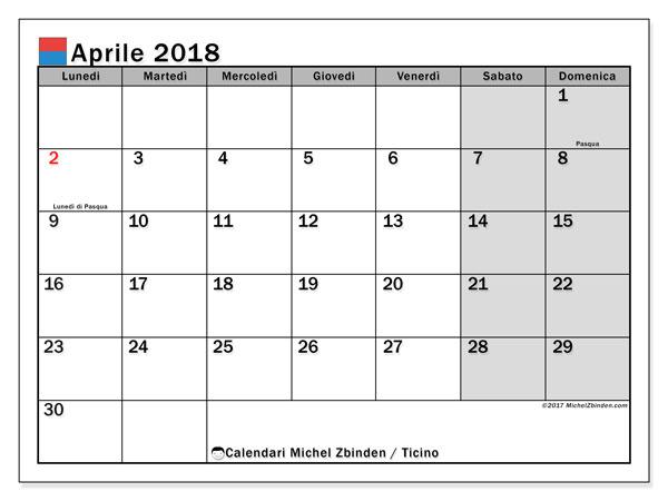 Calendari aprile 2018, con giorini festivi in Ticino. Calendario per il mese da stampare gratuitamente.