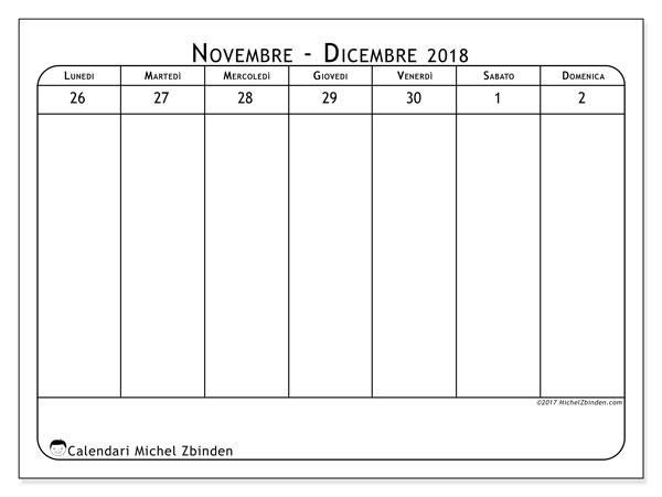 Pagina Calendario Settimanale.Calendari Dicembre 2018 Ld Michel Zbinden It