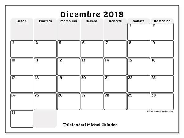 Calendario  dicembre 2018, 44LD