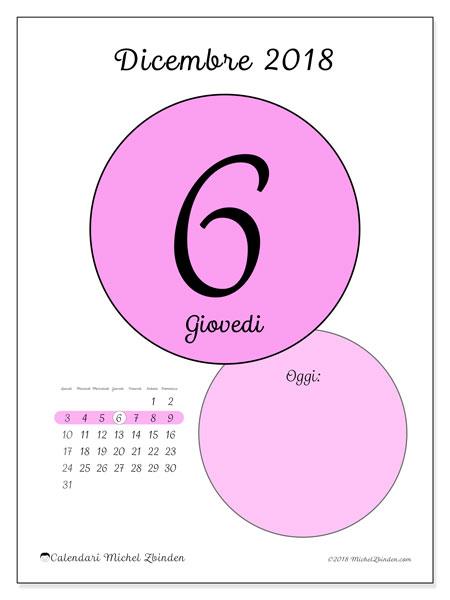 Calendario dicembre 2018 (45-6LD). Calendario per il giorno da stampare gratuitamente.
